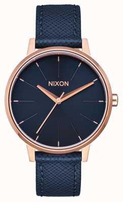 Nixon Kensington Leder | Marine / Roségold | blaues Lederband | blaues Zifferblatt A108-2195-00