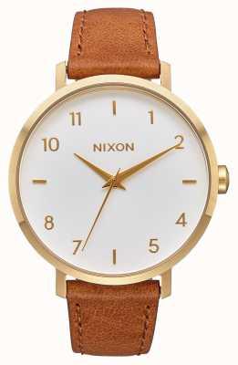 Nixon Pfeil Leder | Gold / Weiß / Sattel | braunes Lederband | weißes Zifferblatt A1091-2621-00