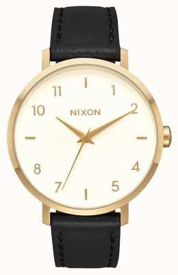 Nixon Pfeil Leder | gold / creme / schwarz | schwarzes Lederband | cremefarbenes Zifferblatt A1091-2769-00