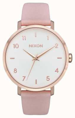 Nixon Pfeil Leder | Roségold / Hellrosa | rosa Lederband | weißes Zifferblatt A1091-3027-00