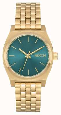 Nixon Mittelzeitzähler | hellgold / türkis | Gold IP Stahl Armband A1130-2626-00