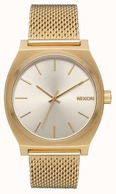 Nixon Zeitzähler milanese | alles Gold / Creme | Gold IP Stahl Mesh | cremefarbenes Zifferblatt A1187-2807-00