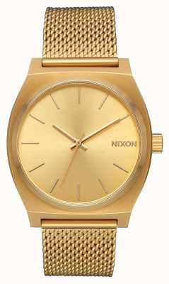 Nixon Zeitzähler milanese | alles Gold | Gold IP Stahl Mesh | goldenes Zifferblatt A1187-502-00