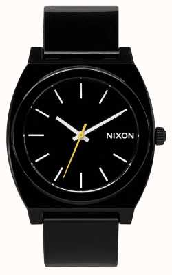 Nixon Zeitmesser p | schwarz | schwarzes Plastikband | schwarzes Zifferblatt A119-000-00