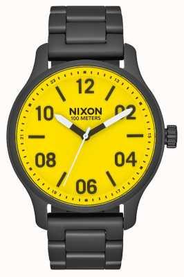 Nixon Patrouille   alle schwarz / gelb   schwarzes IP Stahlarmband   gelbes Zifferblatt A1242-3132-00