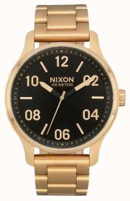 Nixon Patrouille | gold / schwarz | Gold IP Stahl Armband | schwarzes Zifferblatt A1242-513-00