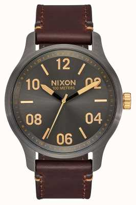 Nixon Patrouillenleder | Rotguss / Gold | braunes Lederband | Rotguss Zifferblatt A1243-595-00
