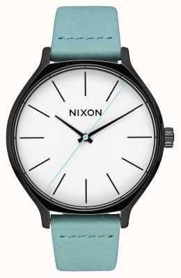 Nixon Clique Leder | schwarz / mint | mintgrünes Lederband | weißes Zifferblatt A1250-3317-00