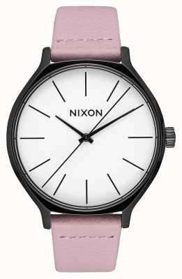 Nixon Clique Leder | schwarz / koralle | rosa Lederband | weißes Zifferblatt A1250-3318-00
