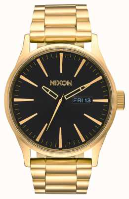 Nixon Wachposten ss | alles gold / schwarz | Gold IP Stahl Armband | schwarzes Zifferblatt A356-510-00