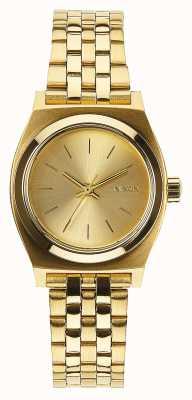 Nixon Kleiner Zeitzähler | alles Gold | Gold IP Stahl Armband | goldenes Zifferblatt A399-502-00
