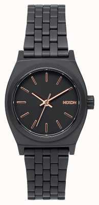 Nixon Kleiner Zeitzähler | alles schwarz / roségold | schwarzes IP Stahlarmband | schwarzes Zifferblatt A399-957-00