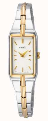 Seiko Zweifarbiges Stahlarmband für Damen | weißes Zifferblatt SWR044J8