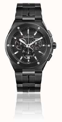 Michel Herbelin Cap camarat chrono | schwarzes Stahlarmband | schwarzes Zifferblatt 37645/BN14