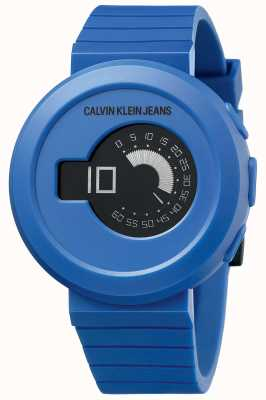Calvin Klein Herren Digirock | blaues Silikonband | schwarzes Zifferblatt KAN51YV1