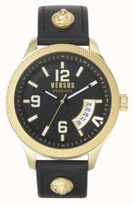 Versus Versace   Männer   reale   schwarzes Lederband   schwarzes Zifferblatt   VSPVT0220