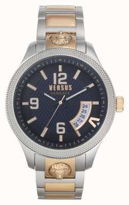 Versus Versace   Männer   reale   zweifarbiges Stahlarmband   blaues Zifferblatt   VSPVT0920