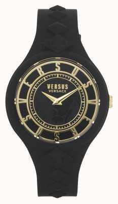 Versus Versace Frauenfeuerinsel | schwarzes Silikonband | schwarzes Zifferblatt VSP1R1020