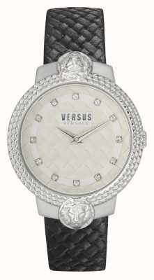 Versus Versace | Frauen | Mouffetard | schwarzes Lederband | weißes Zifferblatt | VSPLK1120