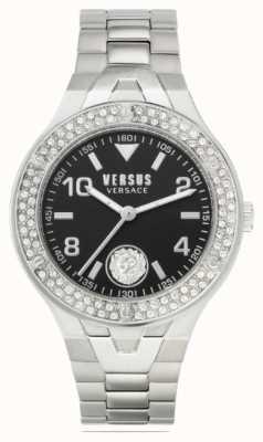 Versus Versace Frauen vittoria | Edelstahlarmband | schwarzes Zifferblatt VSPVO0520