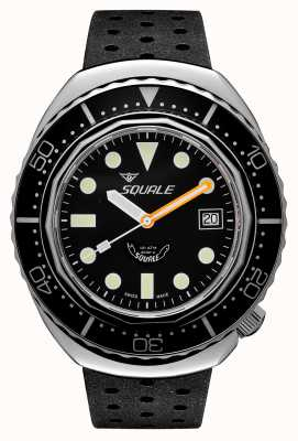 Squale 2002a schwarze runde Punkte | schwarzer Tropenriemen | schwarzes Zifferblatt B083401-CINTRB22