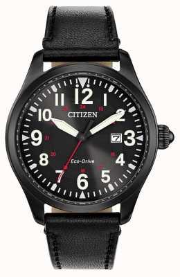Citizen Militärische Öko-Fahrt der Herrengarnison | schwarzes Lederband BM6835-15E