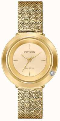 Citizen Frauenambiluna | goldfarbenes Netzarmband | Champagner Zifferblatt EM0642-52P