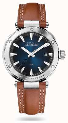 Michel Herbelin Newport | braunes Lederband | blaues Zifferblatt 12288/15GON