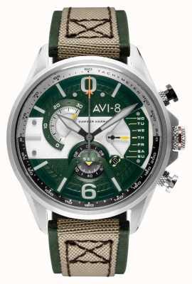 AVI-8 Hawker Harrier ii | Chronograph | grünes Zifferblatt | grünes Leder beige Nato Armband AV-4056-02