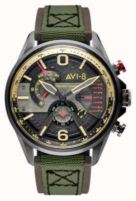 AVI-8 Hawker Harrier ii | Chronograph | graues Zifferblatt | braunes Leder grünes Nato-Armband AV-4056-03