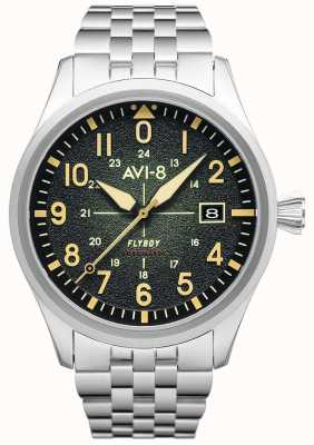 AVI-8 Flyboy | automatisch | grünes Zifferblatt | Edelstahlarmband AV-4075-33