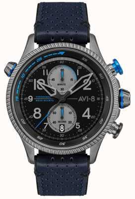 AVI-8 Hawker Jäger | Chronograph | schwarzes Zifferblatt | blaues Lederband AV-4080-02