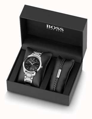 BOSS Herrenuhr aus Edelstahl und Armband aus schwarzem Leder 1570084