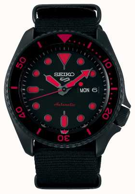 Seiko 5 sportarten | Männer | schwarzes Nylonband | schwarz / rotes Zifferblatt SRPD83K1