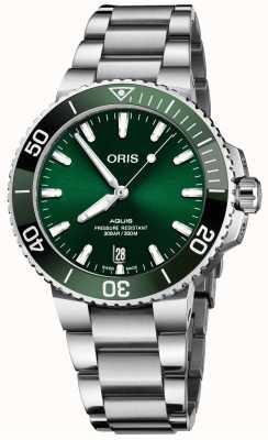 ORIS Aquis Datum 41,5 mm grünes Zifferblatt Edelstahl Armband 01 733 7766 4157-07 8 22 05PEB