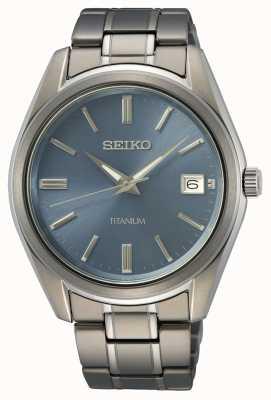 Seiko Herren Quarz Titan blau Zifferblatt SUR371P1