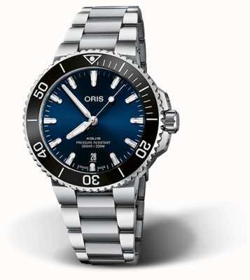 ORIS Aquis Datum 41,5 mm blaues Zifferblatt Edelstahl Armband 01 733 7766 4135-07 8 22 05PEB