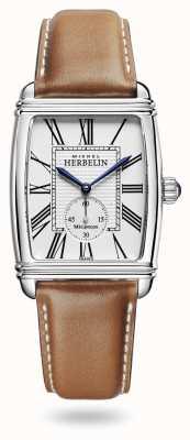 Michel Herbelin Art déco | automatisch | braunes Lederarmband silbernes Zifferblatt 1938/08GO