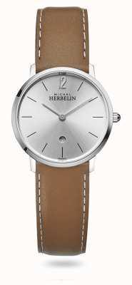Michel Herbelin Stadt | silbernes Zifferblatt | braunes Lederband 16915/11GO
