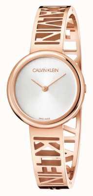 Calvin Klein Mania | roségold pvd stahl | silbernes Zifferblatt | Größe M KBK2M616
