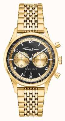 Thomas Sabo | im Herzen rebellieren | Männer | goldfarbenes Armband | schwarzes Zifferblatt | WA0376-264-203-40