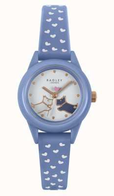Radley Schau es dir an!   blaues Silikonarmband für Damen   weißes Zifferblatt RY21260