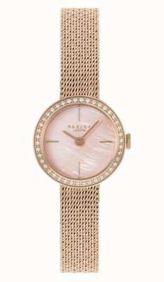 Radley Rosévergoldetes Netzarmband für Damen | rosa Perlmuttzifferblatt RY4570