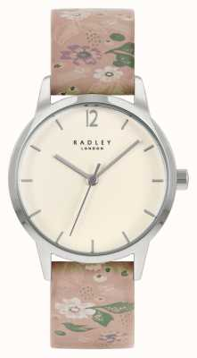 Radley Damen rosa Blumenlederarmband | cremefarbenes Zifferblatt RY21231A