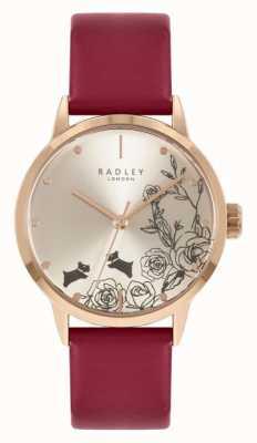 Radley | Frauen | rotes Lederband | silbernes Zifferblatt | RY21244A