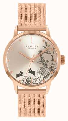Radley Roségold-Netzarmband für Damen | silbernes Blumenzifferblatt RY4582A