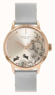Radley Damen Edelstahl Silber Mesh Armband | silbernes Blumenzifferblatt RY4581A