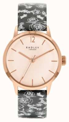 Radley Frauen schwarzes Musterband | Rosenzifferblatt RY21246A