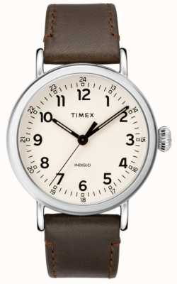 Timex Herren Standard braunes Lederband | beige Zifferblatt TW2T20700