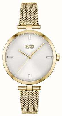 BOSS Frauen | Majestät | silbernes Zifferblatt | goldenes pvd mesh armband 1502586